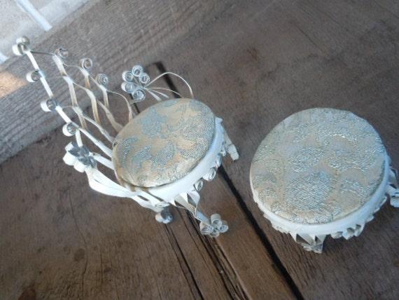 Vintage Tin Can Art Chair and Ottoman Shabby Chic Folk Art Doll Furniture Home Decor
