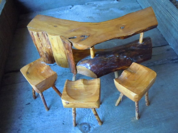 Vintage Miniature Furniture Rustic Bar and Stool Set Folk Art Handmade Retro Wooden Table and Chairs