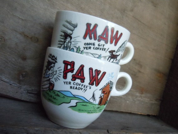 Vintage Coffee Cups Mugs Maw and Paw Farmhouse Kitchy Chic Ceramic Home Decor