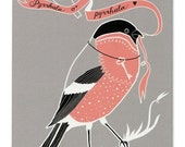 Greeting Card - Bullfinch in Love - gray