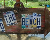 Beach License Plate Barnwood Sign Nautical