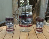 Vintage Coca Cola Tiffany Style Pitcher Set
