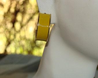 Vintage Yellow Enamel And Gold Hoop Pierced Earrings