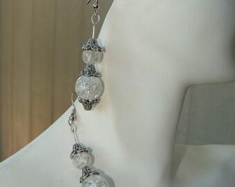 Cracked Glass Earrings,Vintage look, Silver design Hook Earrings,Handmade,Handcrafted Earrings, Glass Beads, Pierced Earrings