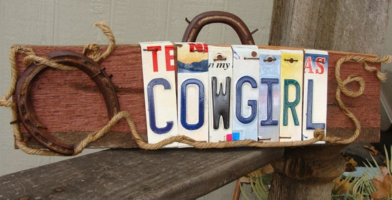 Cowgirl License plate Horseshoes Barn Wood Girl Cave Sign