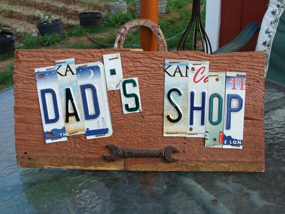 Dad's Shop License Plate Garage Sign