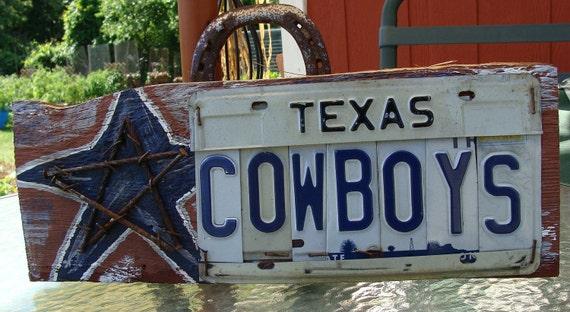 Cowboys Dallas Cowboys License plate Barn Wood Man Cave Sign