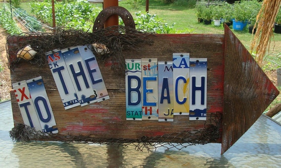 Beach License Plate Barnwood Sign Nautical