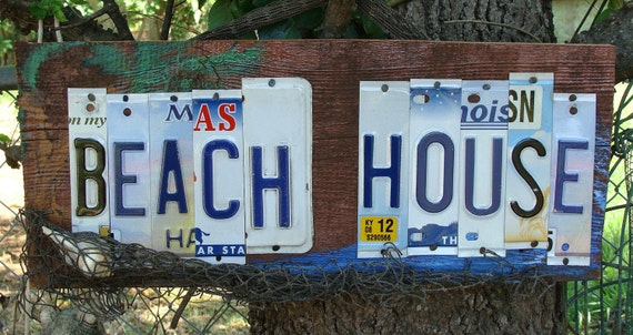 Beach House License Plate Barnwood Sign Nautical