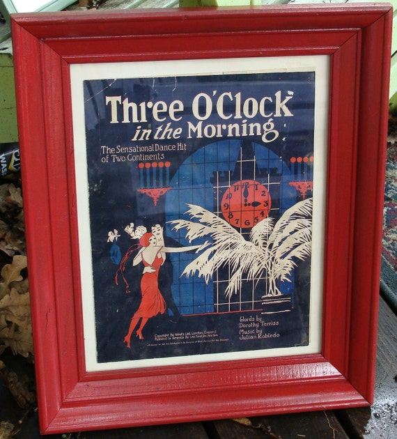 Three Oclock in the morning 1922 Sheet Music Framed