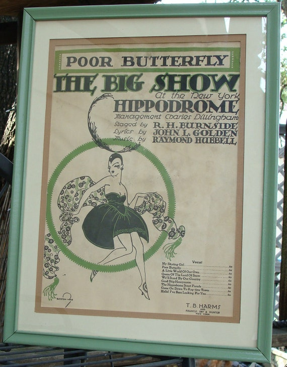 Poor Butterfly The Big Show 1916 Framed Antique Sheet Music