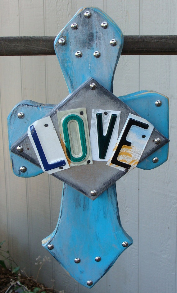 Love Wooden Cross License Plate Art Handcrafted