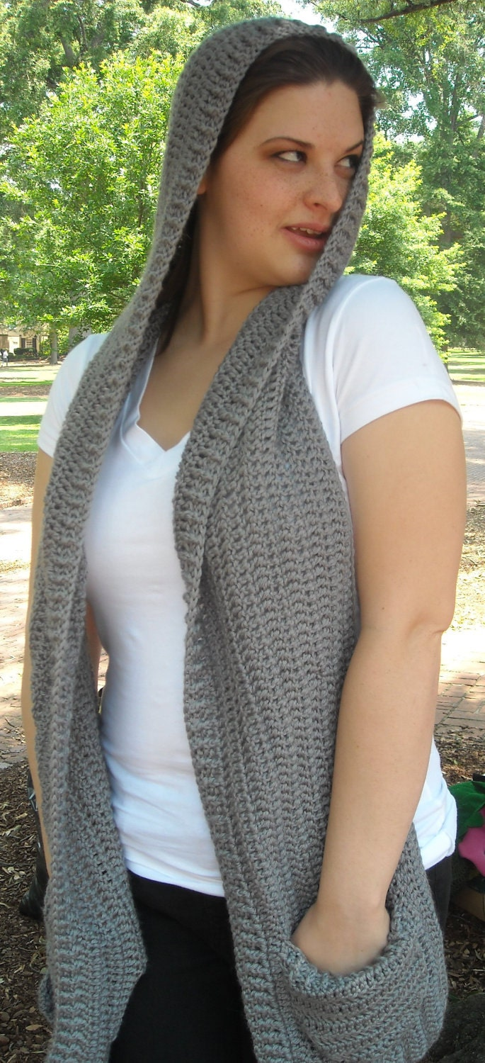 Knitting Patterns For Hooded Scarf With Pockets : Grey Hooded Scarf with Pockets