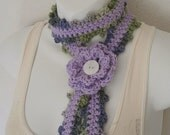 Violet Light Purple Summer Skinny Scarf with Crochet Flower by daiseychain on etsy