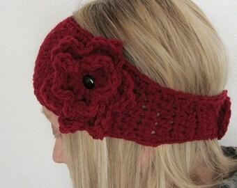 crochet head warmer wide with flower pin