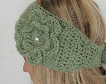 sage green super wide head warmer with flower pin