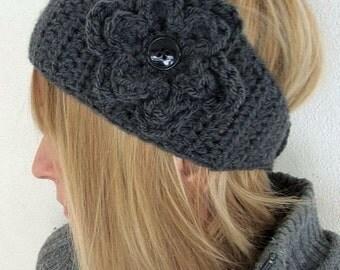 head warmer crochet  wide charcoal gray