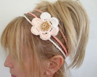 crochet head band with removable flower