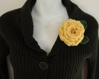 Crochet Yellow Rose Brooch