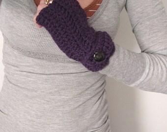fingerless mittens gloves plum crocheted