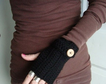 basic black fingerless mittens gloves