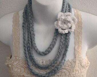 Soft Gray Fiber Art Necklace with Crochet Flower