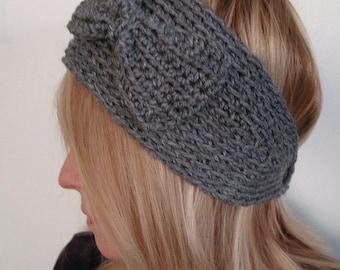 Crochet Wide   Head Warmer Gray with Crochet Bow