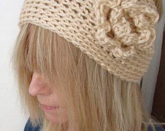 Crochet Wide  Head Warmer Natural