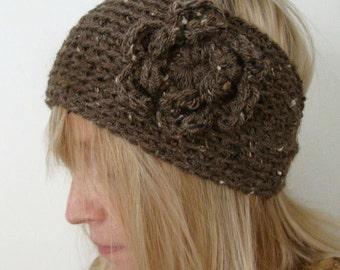 Crochet Wide Head Warmer Brown Mix