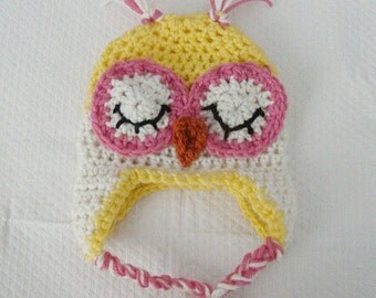 Crochet  Sleepy Time Owl Hat Newborn to 12 Months