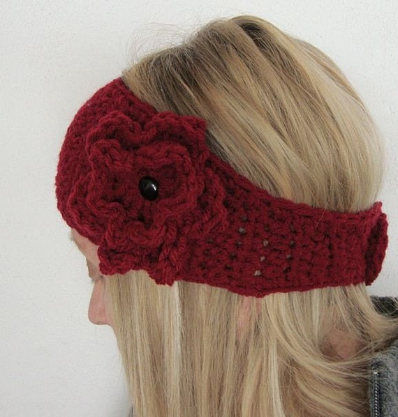 crochet head warmer wide with flower pin