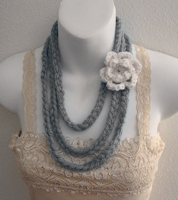 Soft Gray Fiber Art Necklace with Crochet Flower