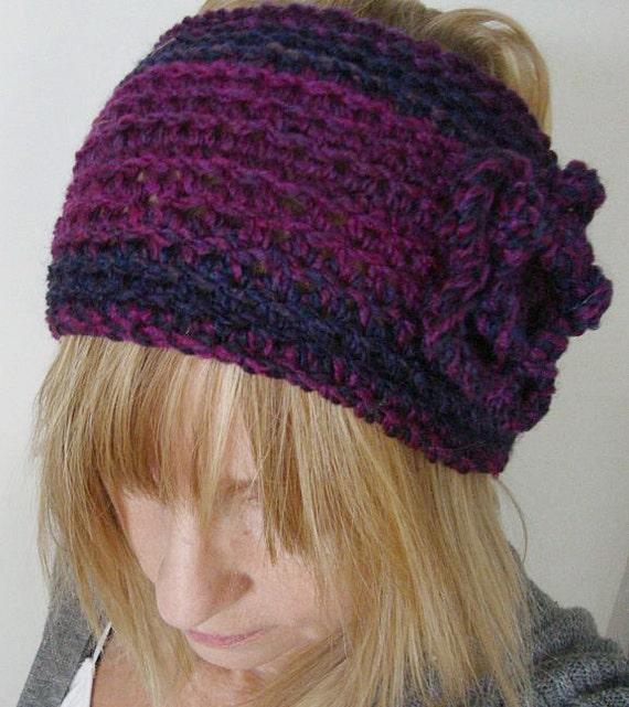 Crochet Wide Head Warmer Mixed Purples