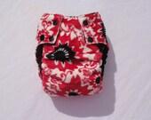 Medium Minky Red Hibiscus Pocket Diaper