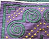 SALE EMBROIDERED PILLOW Case Vintage Hand Stitched Quilted Pillow Case in Purple and Green