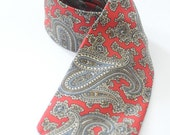 VALENTINES SALE 20% OFF - Retro Harry Rosen Silk Tie in Red Paisley Print Great Gift  for Boyfriend See Description for Coupon Code