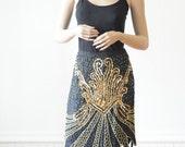 Vintage GOLD SEQUIN SKIRT with Peacock / Art Deco Design in Black Silk Size Medium