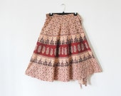70's ETHNIC PRINT Cotton Wrap Skirt One Size Fits All / Most