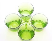REDUCED...70's KELLY GREEN Duralex Mugs Set of Four Made in France / Moss Green / Lime Green / Jade Green