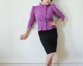 BLOUSE SALE 70's Ruffle Top Purple Peplum / Vintage Secretary Blouse with Side Ruffle Size 9/10