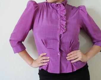 80's Purple Ruffle Blouse Vintage Size Medium