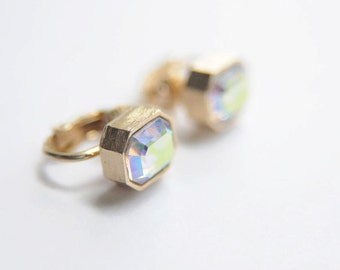 SALE 60's CRYSTAL EARRINGS Multi Faceted Crystal and Gold Tone Clip Ons