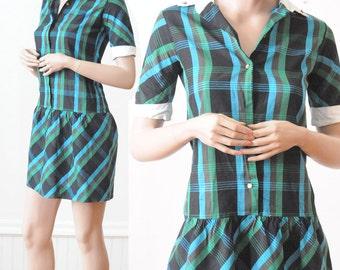 SALE 60's GREEN PLAID Dress Vintage Teal Blue Checkered Drop Waist School Dress for Girls Size 14 by Arlene Airess