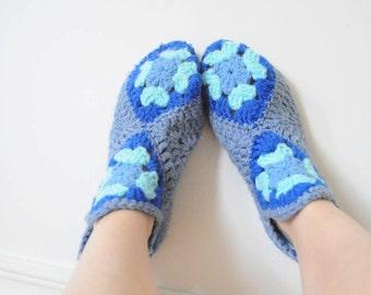 SALE Handmade Socks Blue Floral Blue KNIT SLIPPERS Crochet Socks