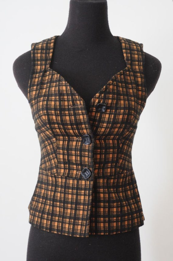 Reserved for Teetoo 1970's LOVE ME FOREVER Plaid Sweetheart Neckline Vest Size Small