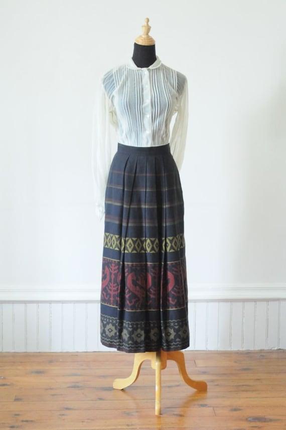 SALE...Vintage TRIBAL COTTON Skirt Maxi Skirt by Lodenfrey Austria Size Small