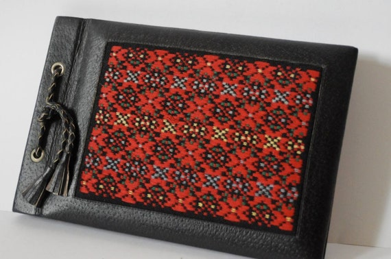 Reserved for Kaaby Vintage LOVE NEST Red and Black Woven Leather Bound Blank Book / Photo Album with Tassels