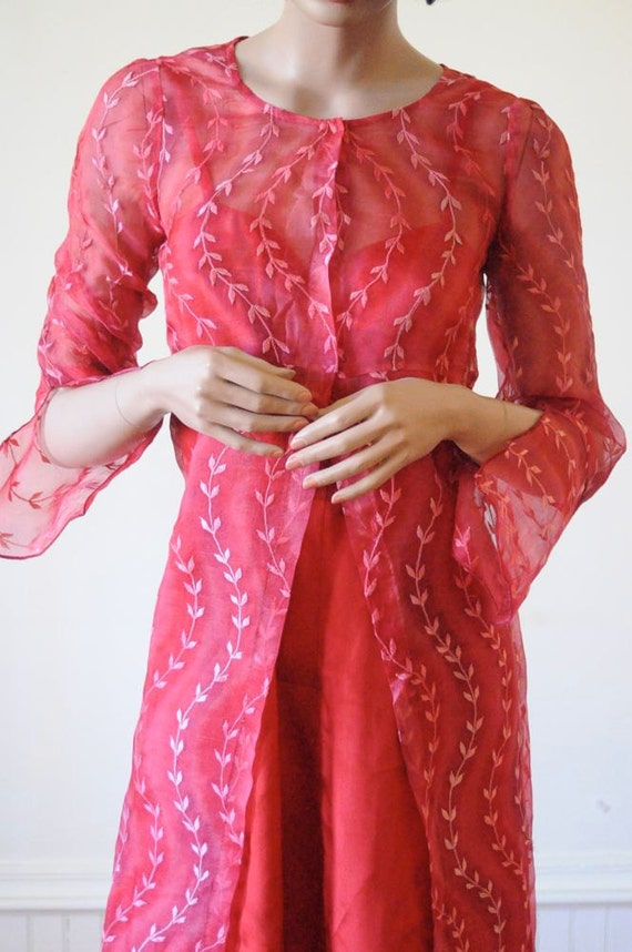 EMBROIDERED DRESS Sheer Red Tunic