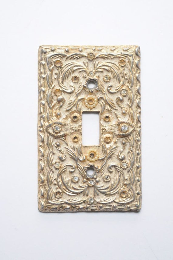 Mid Century Rustic Gold Renaissance Inspired Light Switch Plate with Rhinestones