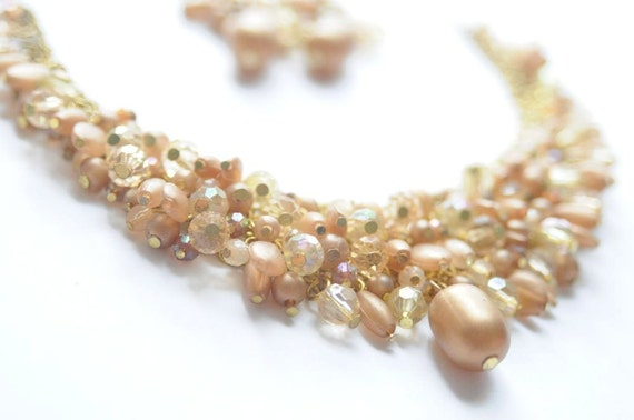 Vintage Champagne and Crystal Beaded Cluster Necklace and Earrings